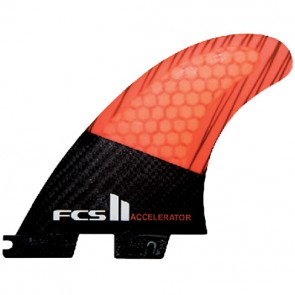 FCS II Fins - Accelerator PC Carbon Large - Black/Neon Orange Hex