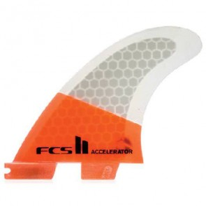FCS II Fins - Accelerator PC Medium - Neon Orange/Clear Hex
