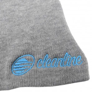 Cleanline Cursive Short Beanie - Heather Grey/Aqua