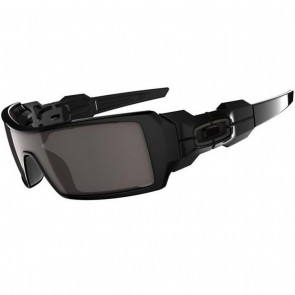 Oakley Oil Rig Sunglasses - Polished Black/Warm Grey