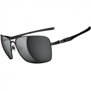 Oakley Plaintiff Squared Polarized Sunglasses - Matte Black/Grey