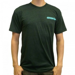 Cleanline Corp Logo/Big Rock T-Shirt - Navy Black/Aqua