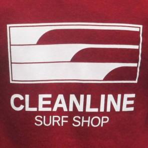 Cleanline Lines Zip Hoodie - Dark Red/White