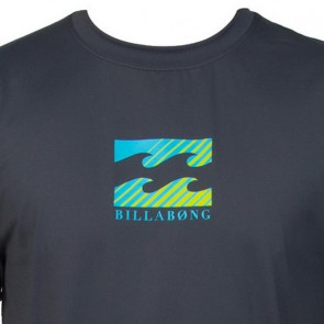 Billabong Wetsuits Youth Chronicle Short Sleeve Rash Guard - Charcoal