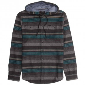 Billabong Latitude Hooded Flannel - Black Heather