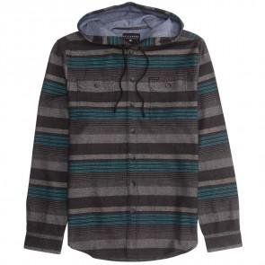 Billabong Latitude Hooded Flannel - Black Heather