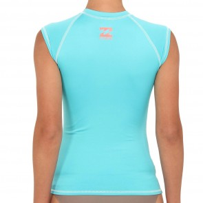 Billabong Wetsuits Women's Making It Short Sleeve Rash Guard - Aquamarine