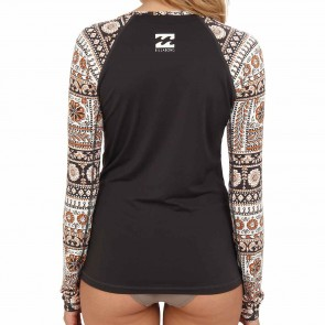 Billabong Wetsuits Women's Chasing Waves Long Sleeve Rash Guard - Off Black