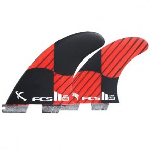 FCS II Fins MB PC Carbon Tri-Quad Large - Red/Black