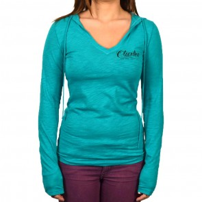 Cleanline Women's Eagle Lightweight V-Neck Hoodie - Jade
