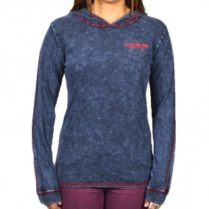 Cleanline Women's Lines Lightweight Hoodie - Washed Navy/Red