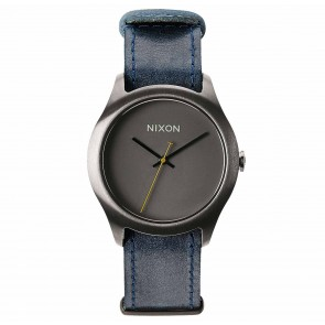 Nixon Watches - The Mod Leather - Gunmetal/Navy