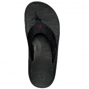 Olukai Kai Ko Leather Sandals - Black/Sour Cherry