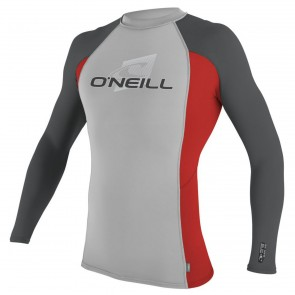 O'Neill Wetsuits Skins Long Sleeve Crew Rash Guard - Lunar/Red/Smoke
