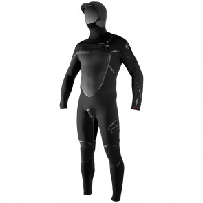 O'Neill Pyrotech 5.5/4 Hooded Chest Zip Wetsuit - Black
