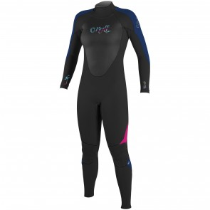 O'Neill Women's Epic 4/3 Back Zip Wetsuit - Black/Navy/Berry