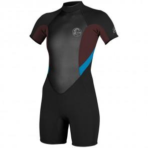 O'Neill Women's Bahia 2/1 Short Sleeve Spring Wetsuit - Black/Myers/Sky