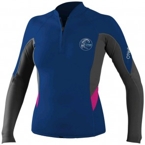O'Neill Women's Bahia Front Zip Long Sleeve Jacket - Cobalt/Graphite/Berry