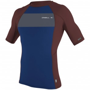 O'Neill Skins Graphic Short Sleeve Crew Rash Guard - Navy/Myers