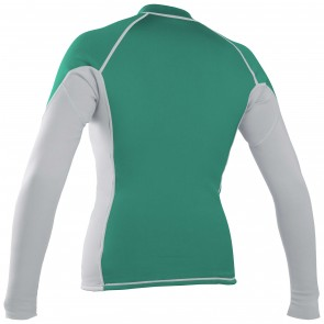 O'Neill Women's Front Zip Long Sleeve Rash Guard - Spyglass/White