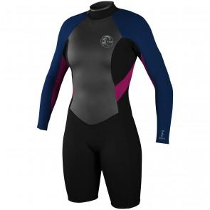 O'Neill Women's Bahia 2/1 Long Sleeve Spring Wetsuit - Black/Cobalt/Berry