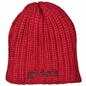 Cleanline Cursive Fat Knit Beanie - Cardinal/Black