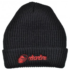 Cleanline Cursive Long Beanie - Black/Red