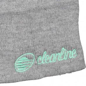 Cleanline Cursive Short Beanie - Heather Grey/Teal