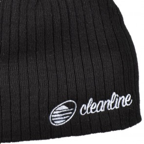 Cleanline Cursive Short Cable Beanie - Black/White