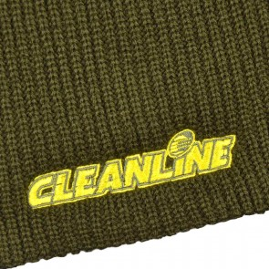 Cleanline Corp Logo Short Knit Beanie - Olive/Yellow