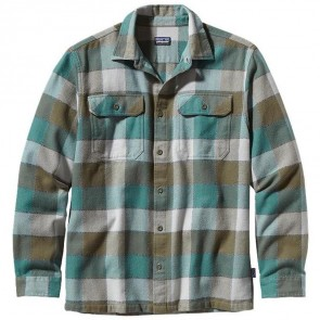 Patagonia Fjord Long Sleeve Flannel - Double Lutz Fatigue Green