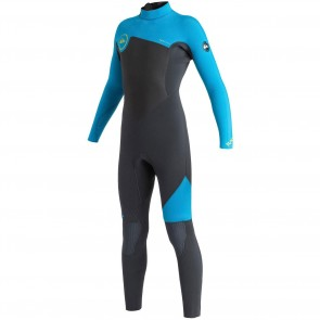 Quiksilver Youth Syncro 4/3 Back Zip Wetsuit - Graphite/Cyan