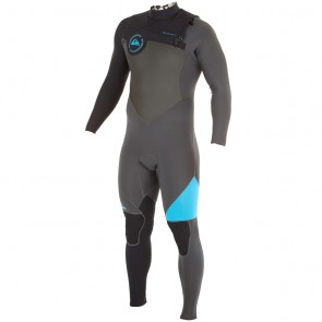 Quiksilver AG47 Performance 3/2 Chest Zip Wetsuit - Black/Graphite/Cyan