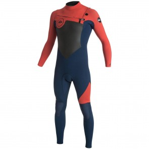Quiksilver Syncro 3/2 Chest Zip Wetsuit - Ink Blue/Orange