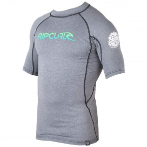 Rip Curl Wetsuits Corp Short Sleeve Rash Guard - Black Heather