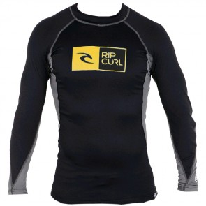 Rip Curl Wetsuits Ripawatu Long Sleeve Rash Guard - Black