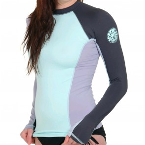 Rip Curl Wetsuits Women's Surf Session Long Sleeve Rash Guard - Bleached Aqua