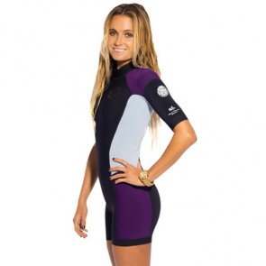 Rip Curl Women's Dawn Patrol S/S Spring Wetsuit - Black/Purple