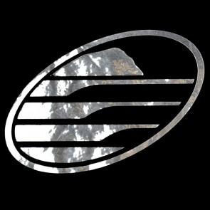 Cleanline Surf Big Rock Oval Sticker - Chrome