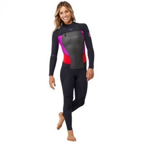 Roxy Women's Syncro 3/2 GBS Chest Zip Wetsuit - Black/Violet/Red