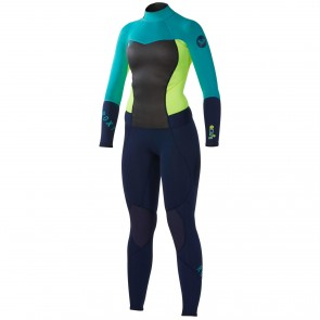 Roxy Women's Syncro 3/2 Back Zip Wetsuit - Blue/Yellow