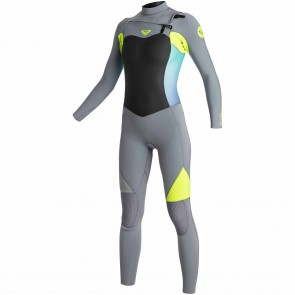 Roxy Women's Syncro 3/2 Chest Zip Wetsuit - Dark Grey/Lemon