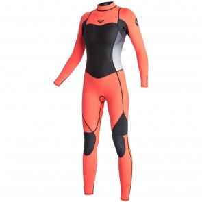 Roxy Women's Syncro 4/3 Back Zip Wetsuit - Graphite/Peach