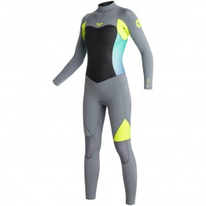 Roxy Women's Syncro 5/4/3 Back Zip Wetsuit - Dark Grey/Lemon
