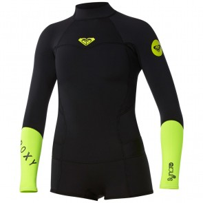 Roxy Women's Syncro 2mm Booty Cut Long Sleeve Spring Wetsuit - Black/Lemon