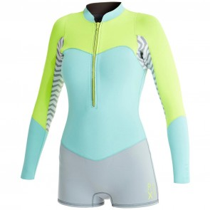 Roxy Women's XY 2mm Long Sleeve Spring Wetsuit - Lemon/Blue/Grey