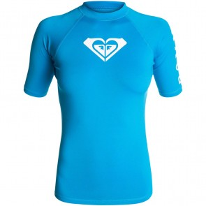 Roxy Women's Whole Hearted Short Sleeve Rash Guard - Blue Aster