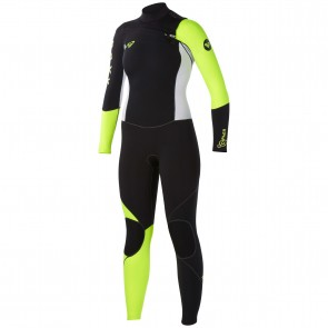 Roxy Women's Cypher 3/2 Wetsuit - Black/White/Yellow