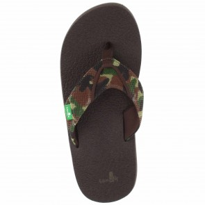 Sanuk Youth Root Beer Cozy Sandals - Green Camo