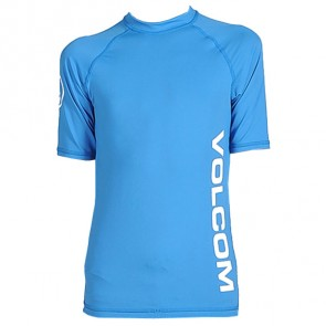 Volcom Youth Solid Short Sleeve Rash Guard - Cosmic Blue